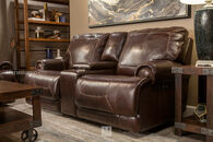 Simon Li Leather Stampede Coffee Reclining Loveseat