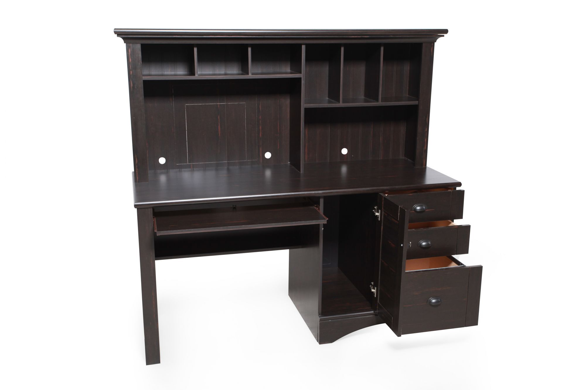 Sauder Harbor View Antiqued Black Computer Desk with Hutch