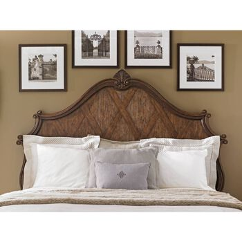 Stanley Villa Fiora Toasted Pecan Wood Panel King Bed