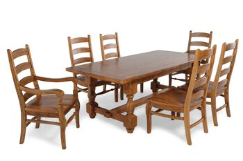 MB Home Switzer Trestle Seven-Piece Dining Set