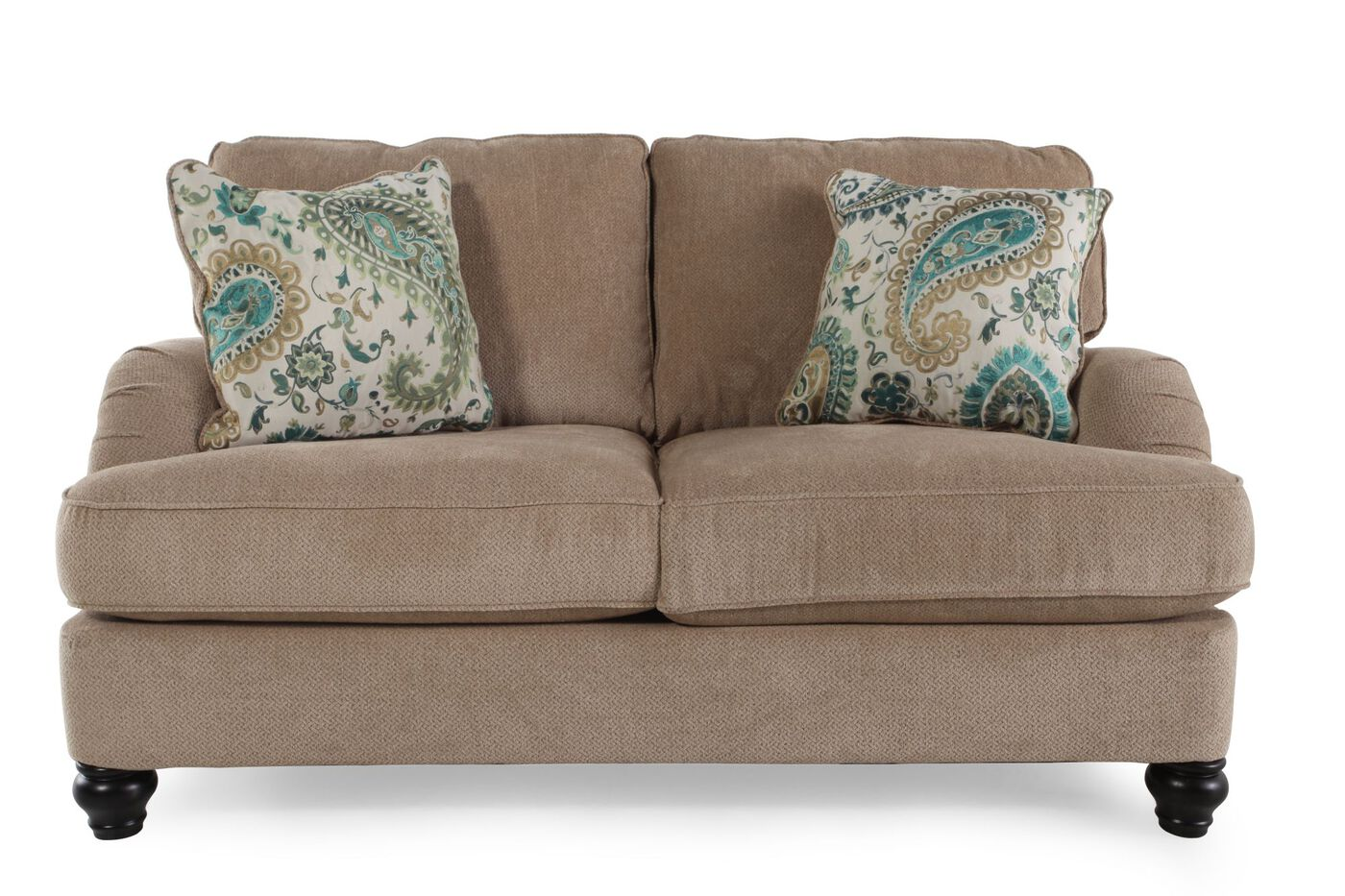 Ashley lochian bisque loveseat mathis brothers furniture for Mathis brothers living room furniture
