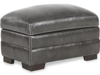 Simon Li Leather Stampede Charcoal Storage Ottoman