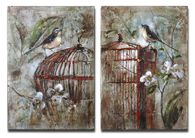 Uttermost Birds In A Cage Canvas Art Set/2