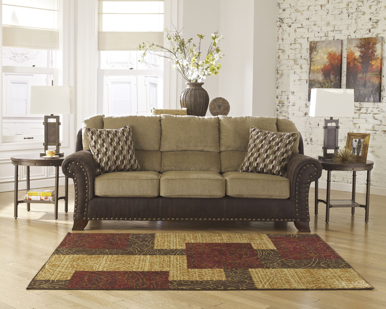 Ashley vandive mocha sofa mathis brothers furniture for Mathis brothers living room furniture