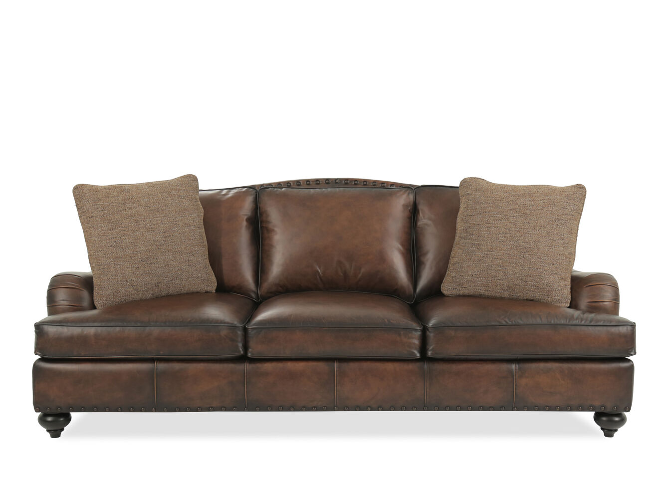 Bernhardt fulham leather sofa mathis brothers furniture for Mathis brothers living room furniture sectional sofas