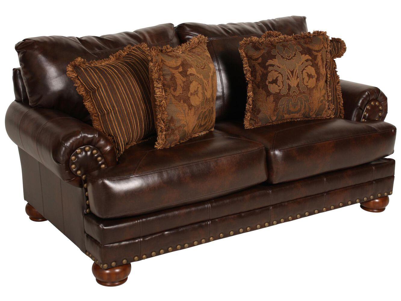 Ashley millennium performance leather antique loveseat - Ashley millennium living room furniture ...