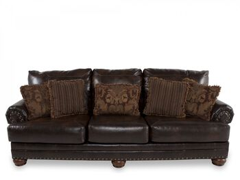 Ashley Leather Antique Sofa Millennium Mathis Brothers