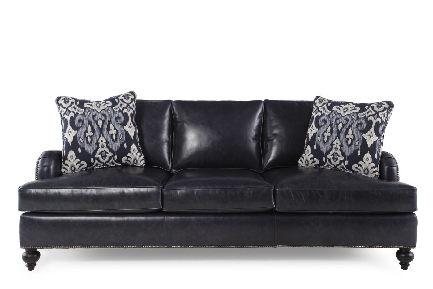 Bernhardt beckford leather sofa mathis brothers furniture for Bernhardt furniture