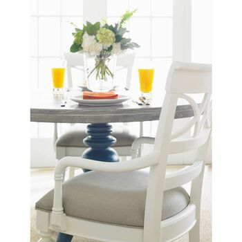 Stanley Coastal Living Retreat Gloucester Grey Round Pedestal Table Wood Top