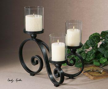 Uttermost Arla Black Crackle Candleholder
