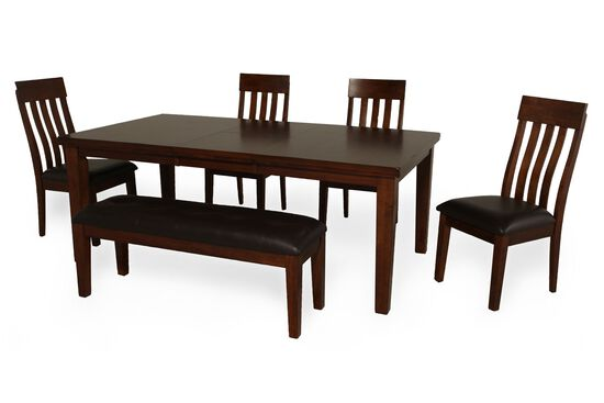 mathis brothers dining room sets | 6 Piece Dining Set with Dining Bench | Mathis Brothers