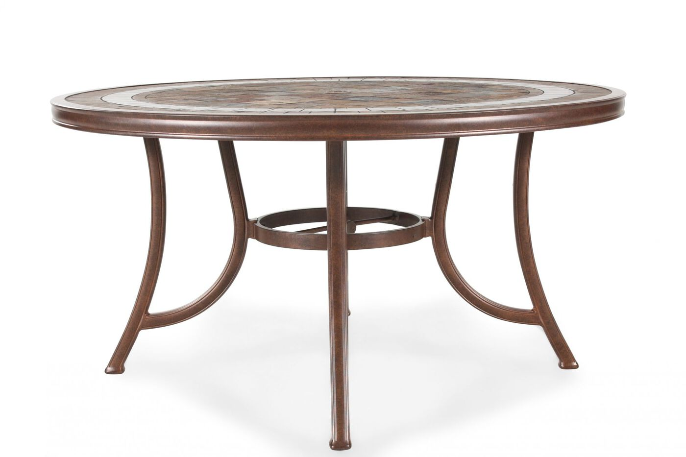 Agio burgandy round stone top table mathis brothers for Html table th always on top