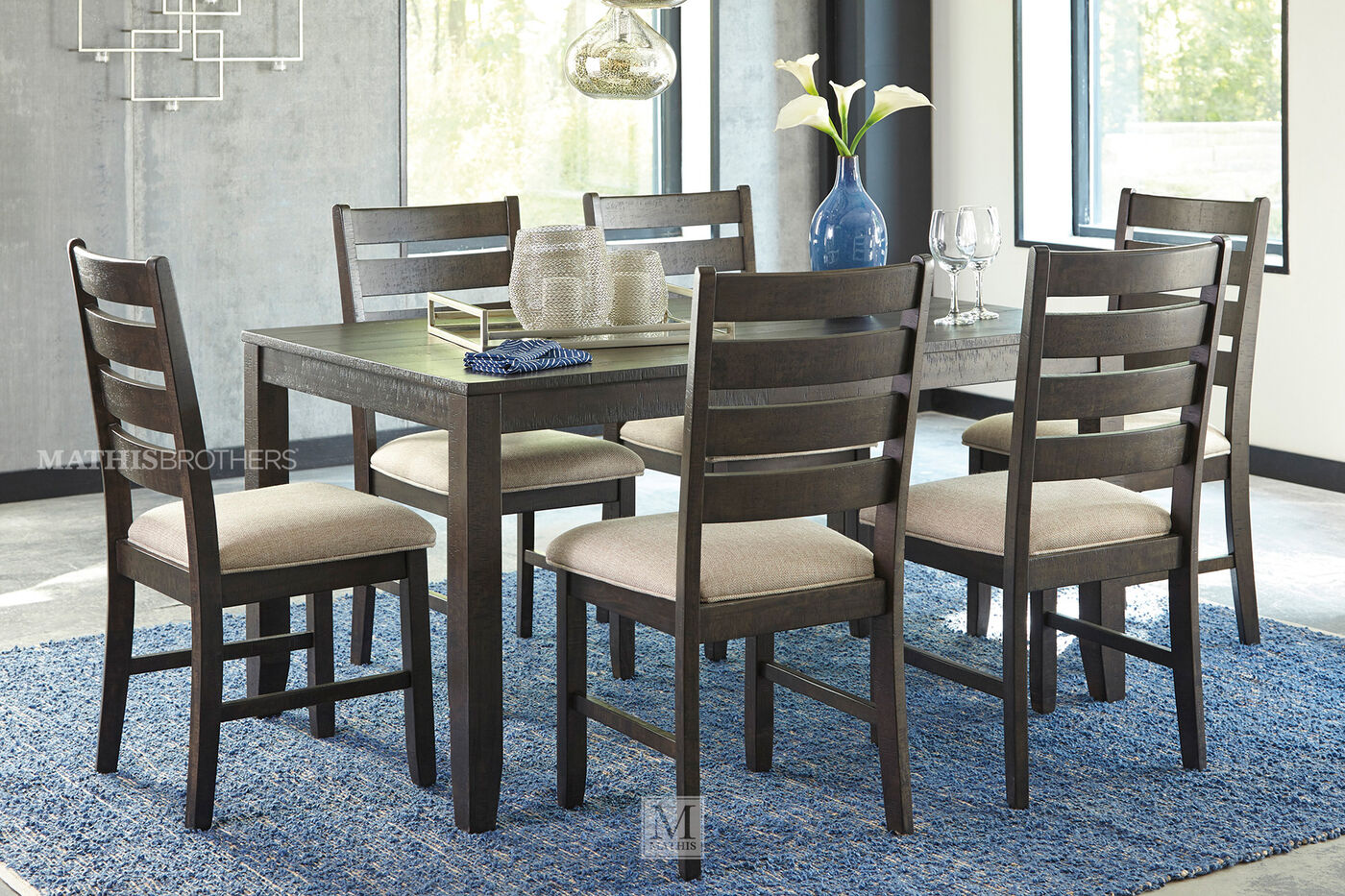 Ashley Rokane Brown Rectangle Seven Piece Dining Set