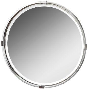 Uttermost Tazlina Brushed Nickel Round Mirror