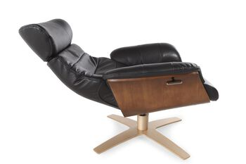 Boulevard Black Leather Swivel Recliner