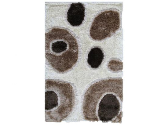 LBJ Hand Tufted Polyester Ivory Circles Rug