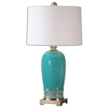 Uttermost Albertus Crackle Blue Table Lamp