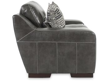 Simon Li Leather Stampede Charcoal Loveseat
