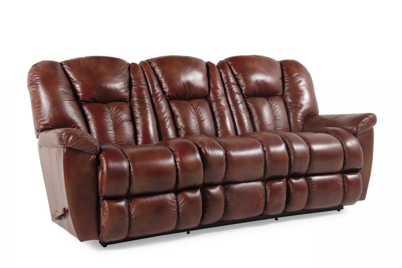 La Z Boy Maverick Mahogany Reclining Sofa Mathis Brothers Furniture
