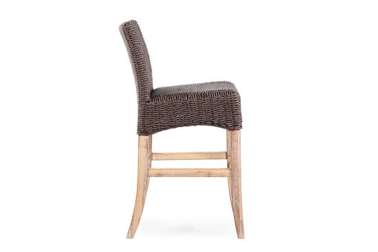 World Source Vineyard Haven Teak Wicker Bar Stool