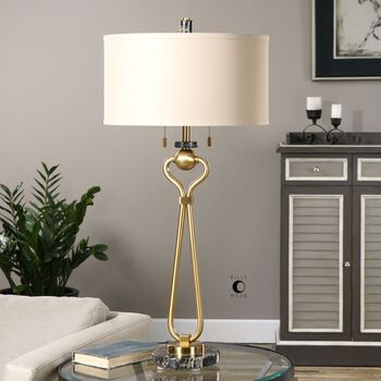 Uttermost Arcella Brushed Brass Lamp
