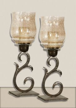 Uttermost Sorel Small Metal Candleholders, Set/2