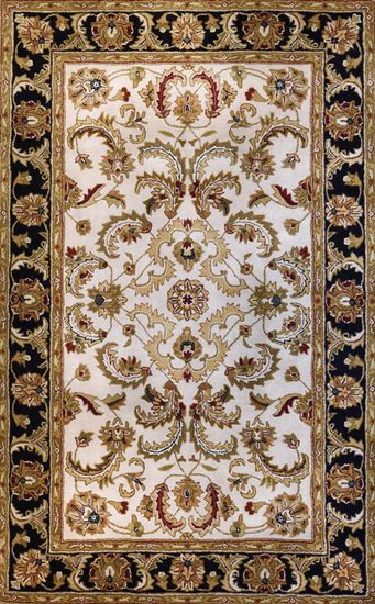 LBJ Hand Tufted Wool Ivory/Black Traditional Rug