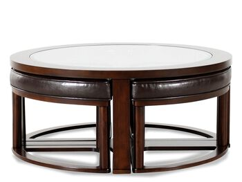 Ashley Marion Round Cocktail Table Amp Four Stools Mathis