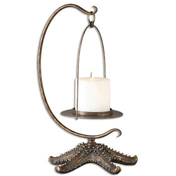 Uttermost Starfish Antiqued Gold Candleholder