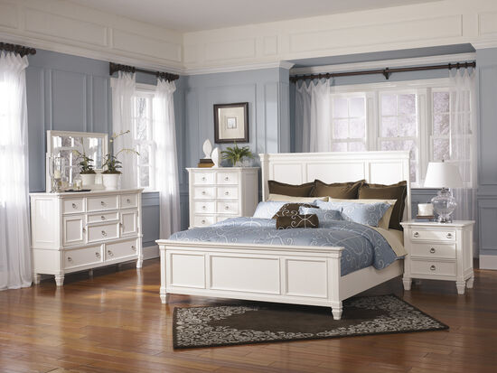 Ashley Prentice White Queen Panel Bed