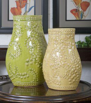Uttermost Trailing Leaves Ceramic Vases, Set/2