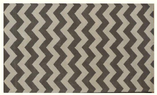 LBJ Hand Tufted Wool Grey/White Geometric Rug