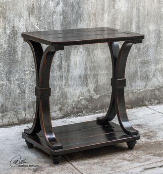 Uttermost Jomei Rubbed Black Accent Table