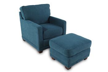 La-Z-Boy Kennedy Teal Chair and Ottoman