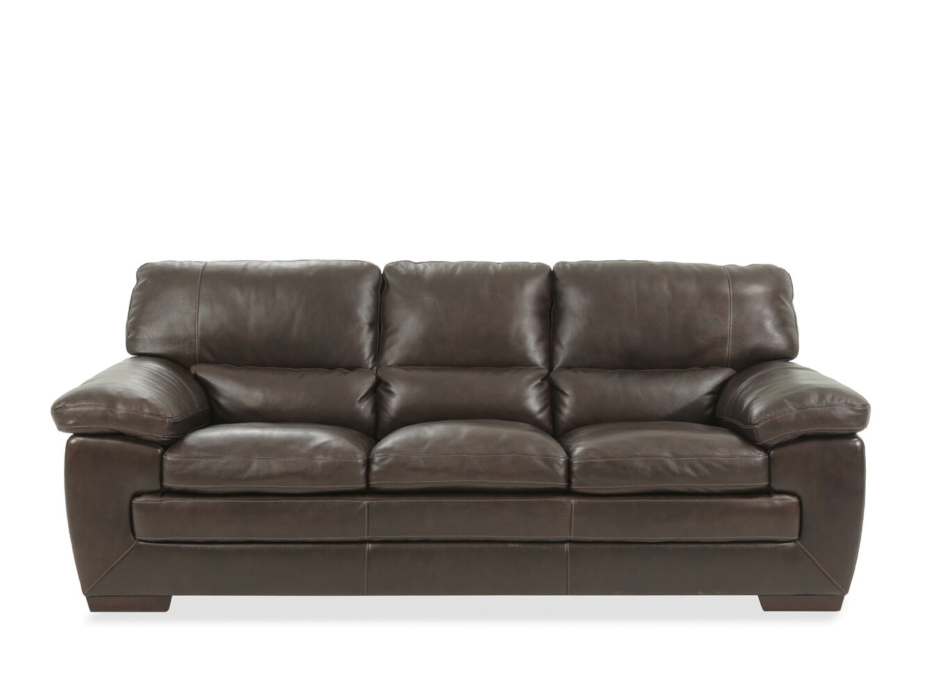 Simon Li Leather Longhorn Black Oak Sofa Mathis Brothers Furniture