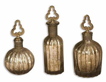 Uttermost Kaho Antique Silver Perfume Bottles S/3