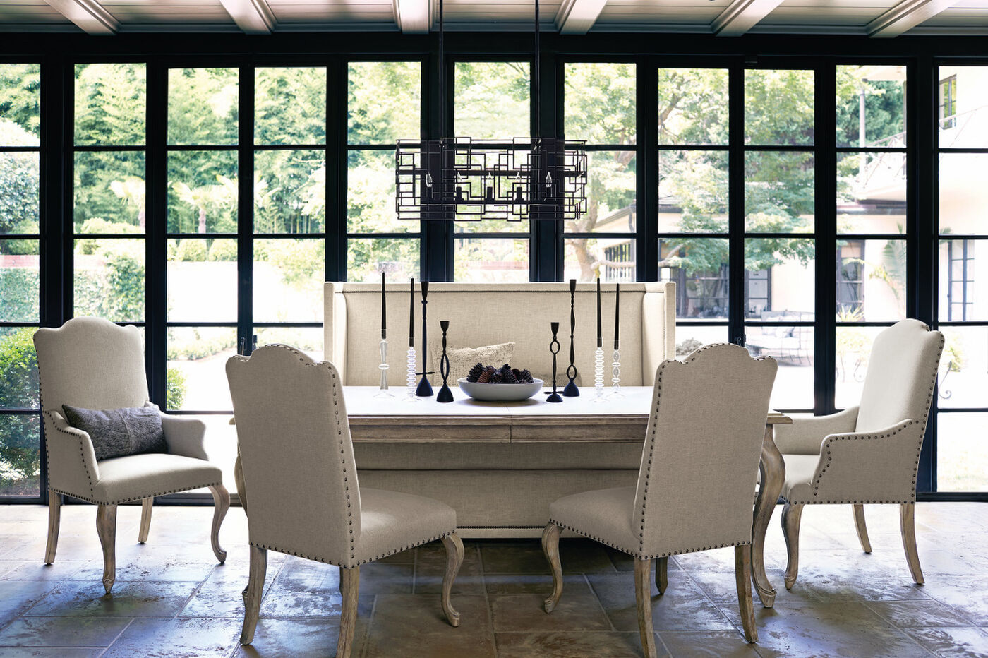 Bernhardt Campania Weathered Sand Dining Table | Mathis Brothers ...