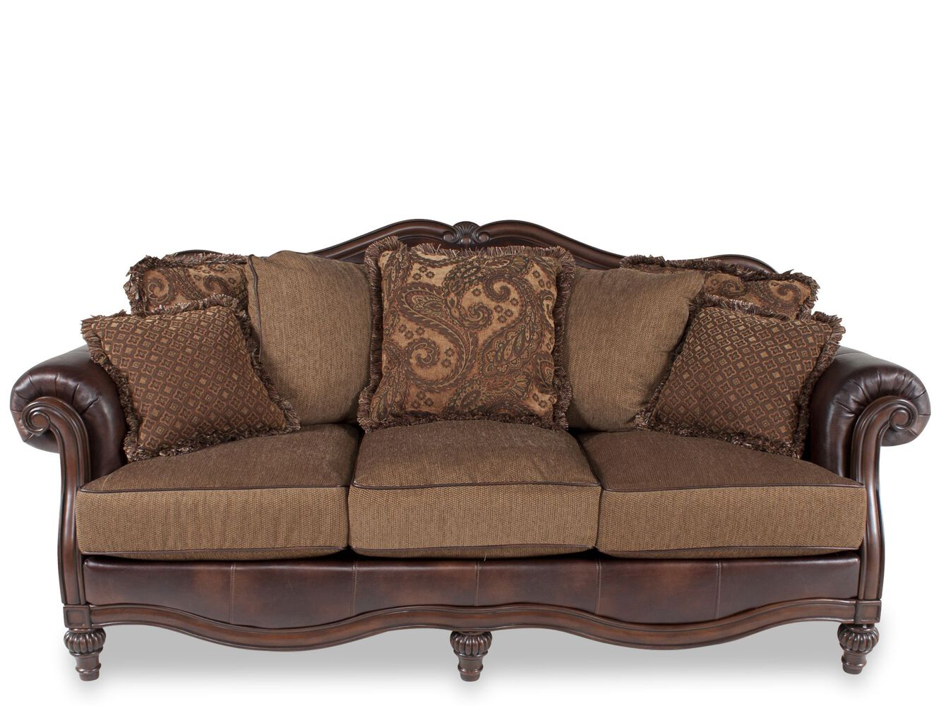 Ashley clairemore antique sofa mathis brothers furniture for Mathis brothers living room furniture sectional sofas