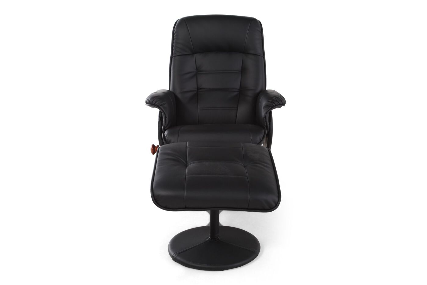 Benchmaster black reclining chair and ottoman