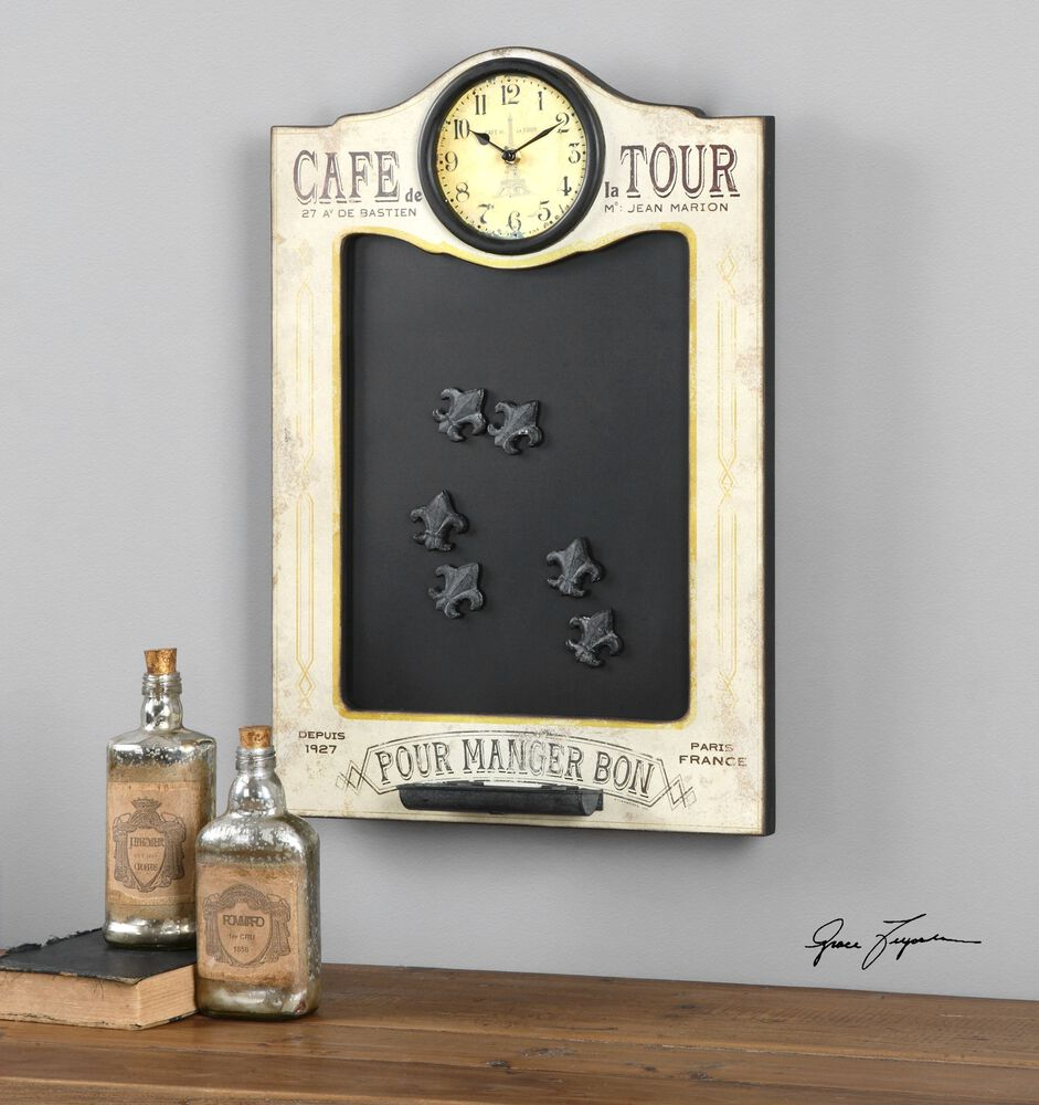 uttermost cafe de la tour chalkboard and clock mathis brothers furniture. Black Bedroom Furniture Sets. Home Design Ideas