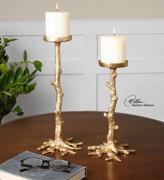 Uttermost Maple Gold Candleholders, S/2