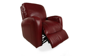 USA Leather Raspberry Rocker Recliner