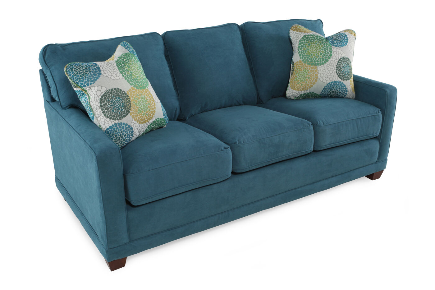 La Z Boy Kennedy Teal Sofa Mathis Brothers Furniture