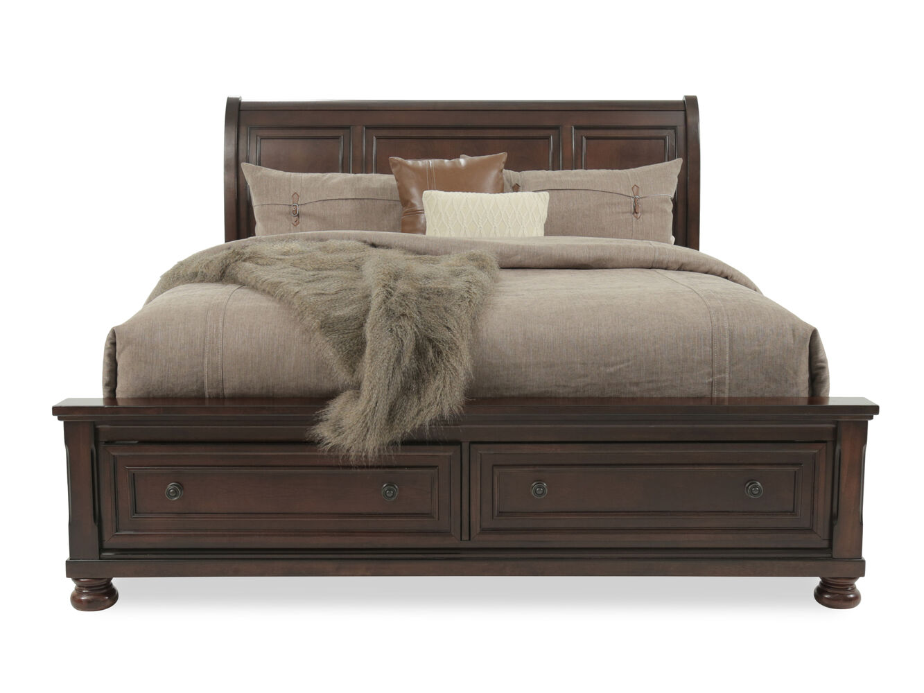 King sleigh bed with storage drawers - Ashley 57 Quot Vintage Beveled Storage Casual Sleigh Bed In Rustic Brown