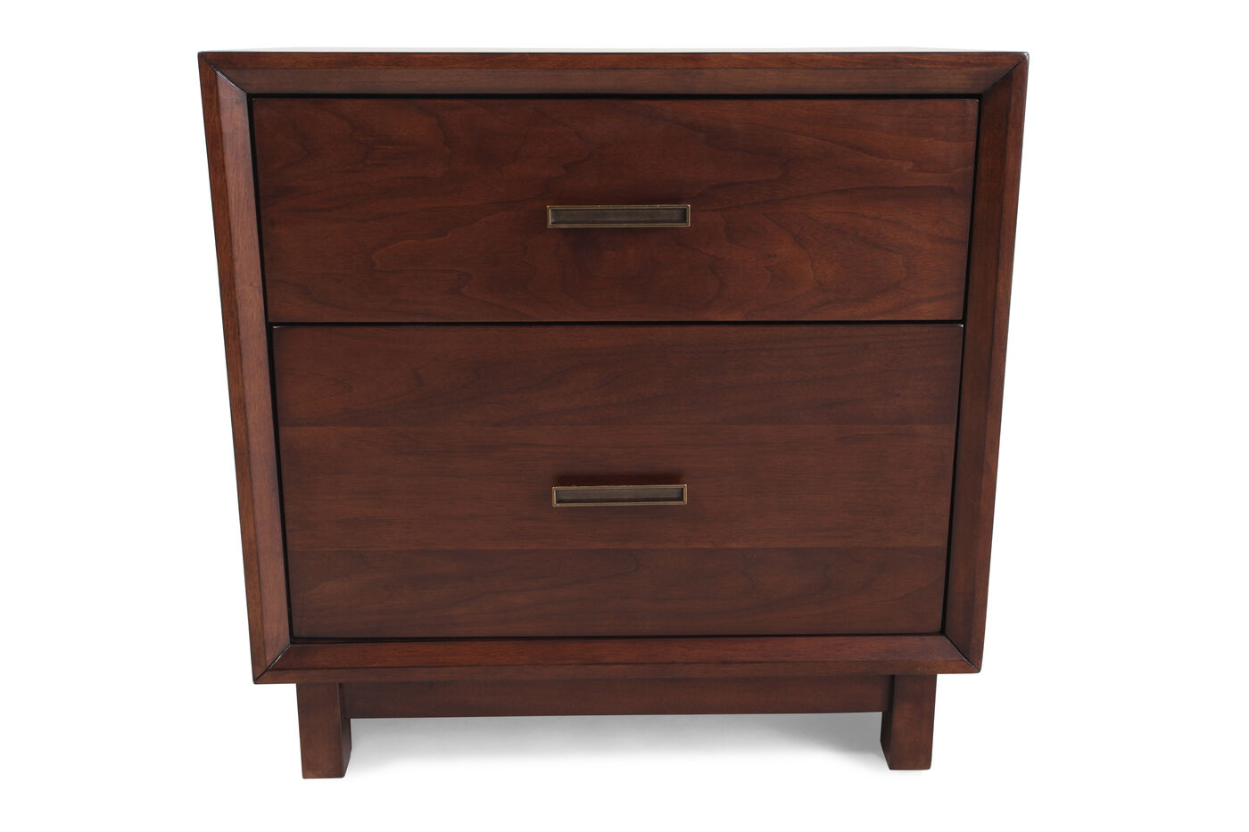 Aspen Walnut Heights Two Drawer Nightstand Mathis Brothers Furniture