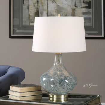 Uttermost Celinda Blue Gray Glass Lamp