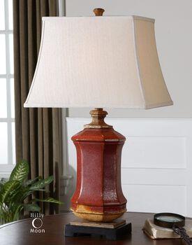 Uttermost Fogliano Red Ceramic Lamp