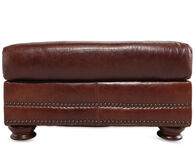 USA Leather Brandy Ottoman