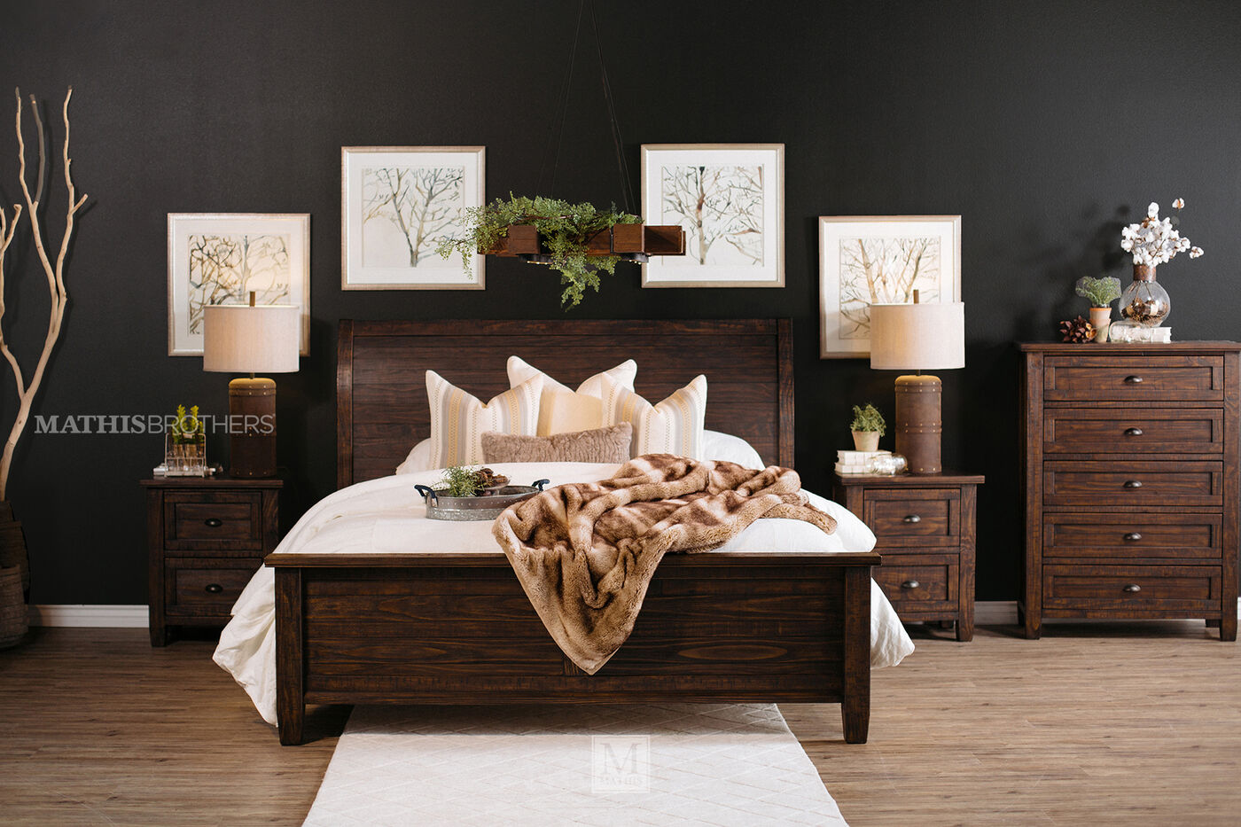 """ashley 57"""" solid wood casual sleigh bed in dark brown 