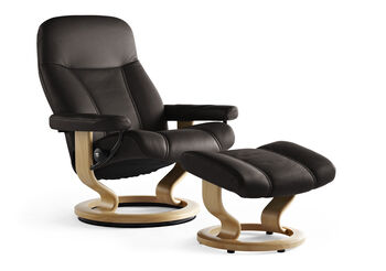 Stressless Batick Large Brown Chair and Ottoman